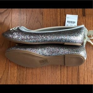 Crewcuts Glitter Ballet Flats Big-kid Size 4 NWT